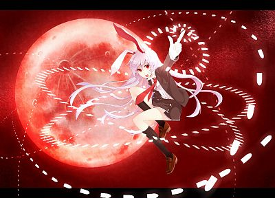 video games, Touhou, red, school uniforms, animal ears, Reisen Udongein Inaba - related desktop wallpaper