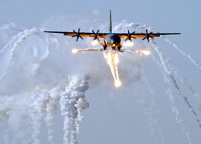 aircraft, military, smoke, AC-130 Spooky/Spectre, planes, flares - desktop wallpaper