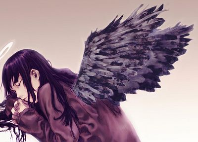 angels, wings, Haibane Renmei, simple background - random desktop wallpaper