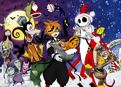 Kingdom Hearts, Halloween, Sora (Kingdom Hearts), Christmas, Jack Skellington - random desktop wallpaper