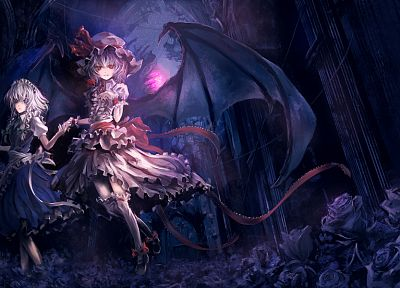 Touhou, maids, Izayoi Sakuya, vampires, Remilia Scarlet, Scarlet Devil Mansion, Archlich - related desktop wallpaper