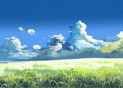 clouds, Makoto Shinkai, scenic, The Place Promised in Our Early Days, blue skies - random desktop wallpaper