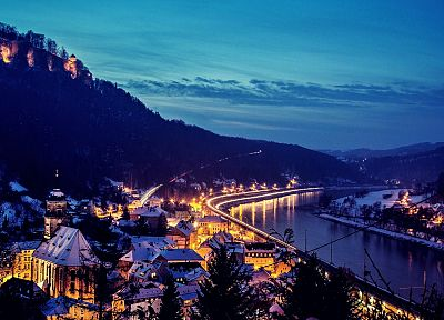mountains, landscapes, night, lights, roads, cities - related desktop wallpaper