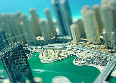 Dubai, skyscrapers, tilt-shift, out of focus, building site - random desktop wallpaper