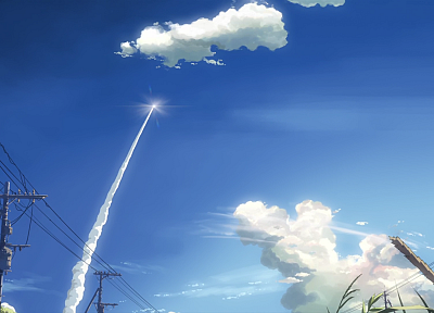 clouds, Makoto Shinkai, power lines, 5 Centimeters Per Second, contrails, skyscapes, low-angle shot, skies - related desktop wallpaper