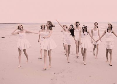 women, sand, Girls Generation SNSD, barefoot, beaches - desktop wallpaper
