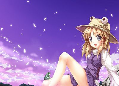 blondes, Touhou, Goddess, short hair, Moriya Suwako, flower petals, skyscapes, hats, anime girls - random desktop wallpaper