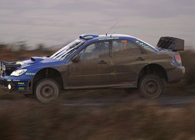 cars, rally, airborne, Subaru Impreza WRC, racing, races, rally cars, blue cars, racing cars - related desktop wallpaper