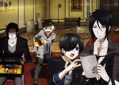 brunettes, blondes, food, eyepatch, Kuroshitsuji, Ciel Phantomhive, Sebastian Michaelis, Alois Trancy, anime, anime boys, Claude Faustus - related desktop wallpaper