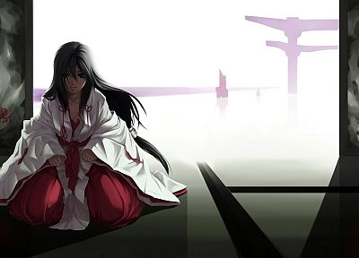 Miko, anime, torii, Japanese clothes, anime girls - related desktop wallpaper