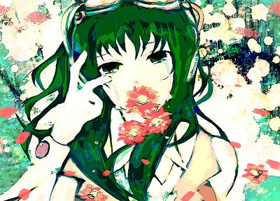 headphones, women, music, Vocaloid, flowers, tears, long hair, green eyes, goggles, green hair, crying, Megpoid Gumi, flower petals, anime girls, bangs, bare shoulders, mouth hold - related desktop wallpaper
