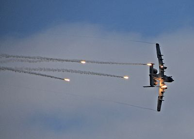 aircraft, flares, A-10 Thunderbolt II - desktop wallpaper