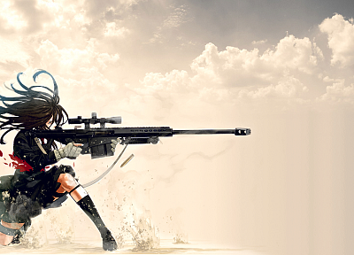 women, school uniforms, snipers, girls with guns, anime, Barret M82A1, anime girls, Kozaki Yusuke, original characters - random desktop wallpaper