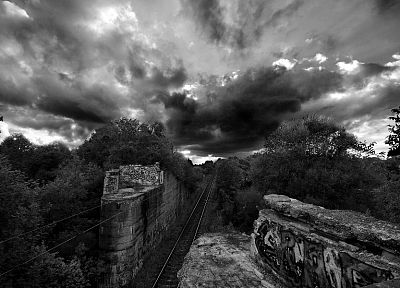 forests, storm, trains, grayscale, monochrome, vehicles - related desktop wallpaper