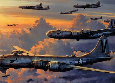 paintings, aircraft, military, bomber, artwork, B-29 Superfortress - random desktop wallpaper