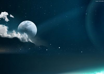 clouds, outer space, dark, stars, planets, Moon, skyscapes - desktop wallpaper