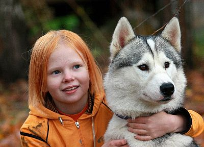 redheads, dogs, husky, friendship, children - desktop wallpaper
