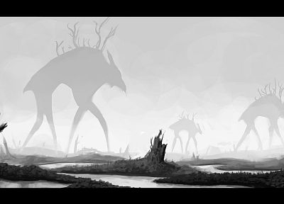 fantasy, monsters, fantasy art, grayscale, monochrome, swamp, Stephen King - random desktop wallpaper
