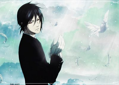 brunettes, clouds, white, suit, doves, feathers, Kuroshitsuji, Sebastian Michaelis - related desktop wallpaper