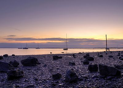 sunset, purple, boats, vehicles, skyscapes, sea, beaches - related desktop wallpaper
