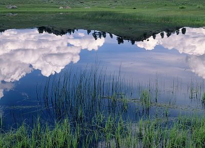 clouds, valleys, ponds, Wyoming, Yellowstone, Lamar - desktop wallpaper