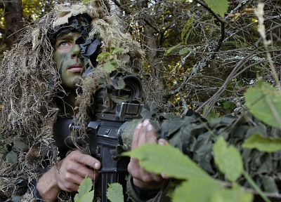 scope, soldiers, army, military, men, snipers, ghillie suit, M16A2, Ghillie, M145 ELCAN, M16A2E3 - desktop wallpaper