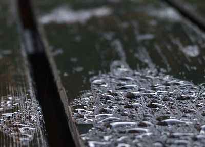 water, rain, wood, water drops, rain on glass - random desktop wallpaper