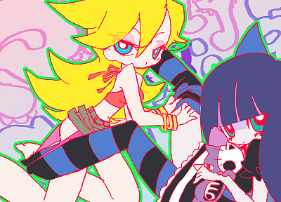 Panty and Stocking with Garterbelt, Anarchy Panty, Anarchy Stocking, striped legwear - desktop wallpaper