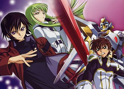 Code Geass, mecha, Kururugi Suzaku, Lamperouge Lelouch, C.C. - desktop wallpaper