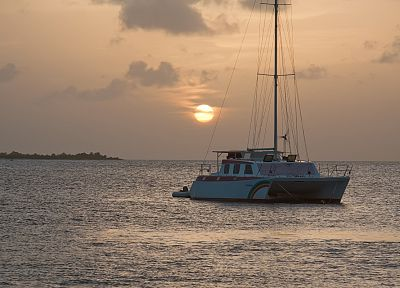 sunset, sail, ships, islands, Bonaire, sea - random desktop wallpaper