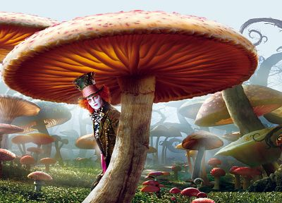 movies, Alice in Wonderland, mushrooms, Mad Hatter, Johnny Depp, actors - related desktop wallpaper