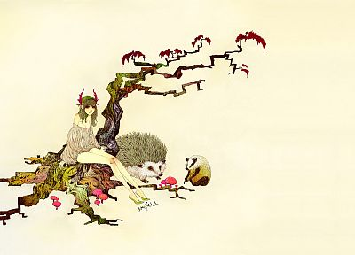 trees, animals, hedgehogs, simple background, somefield, Barnaby Ward - related desktop wallpaper