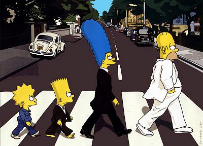 Abbey Road, streets, Homer Simpson, The Simpsons, Bart Simpson, Lisa Simpson, Marge Simpson - related desktop wallpaper