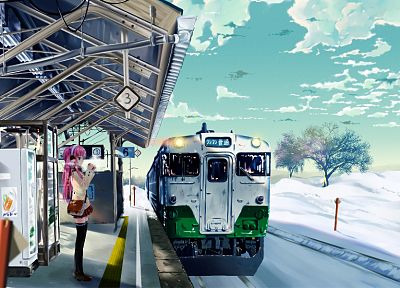 Japan, snow, trains, train stations, anime girls - desktop wallpaper