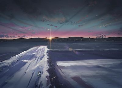 Japan, winter, snow, skylines, fields, Makoto Shinkai, 5 Centimeters Per Second, anime - random desktop wallpaper