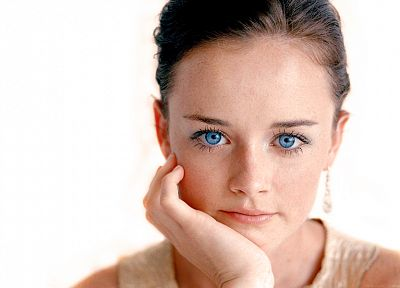 brunettes, women, close-up, Alexis Bledel, blue eyes, faces, white background, portraits - desktop wallpaper
