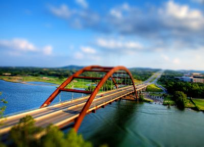 water, bridges, tilt-shift, lakes - desktop wallpaper