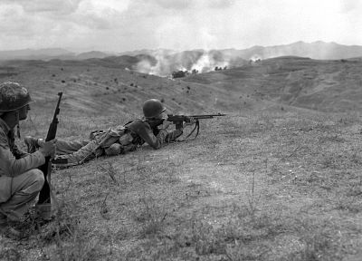 soldiers, war, monochrome, historic, M1A1 carbine, Browning Automatic Rifle - desktop wallpaper
