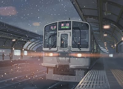 snow, trains, Makoto Shinkai, train stations, shinjuku, 5 Centimeters Per Second, artwork, vehicles, detailed - desktop wallpaper