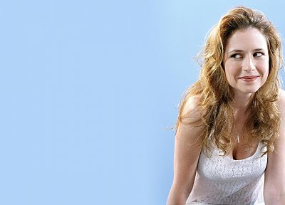 women, actress, cleavage, Jenna Fischer, simple background - desktop wallpaper