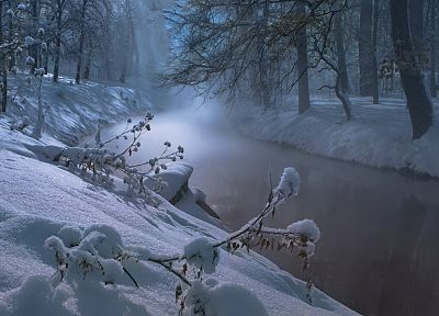 water, landscapes, nature, winter, trees, night, rivers - related desktop wallpaper