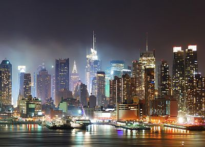 water, cityscapes, lights, urban, New York City - random desktop wallpaper