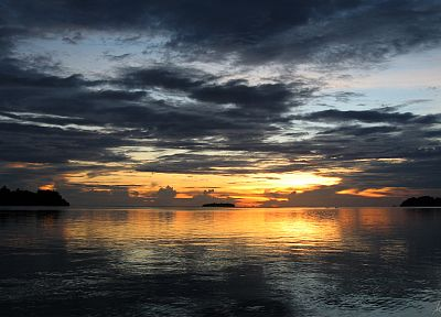 sunset, skyscapes, Solomon Islands, sea - desktop wallpaper