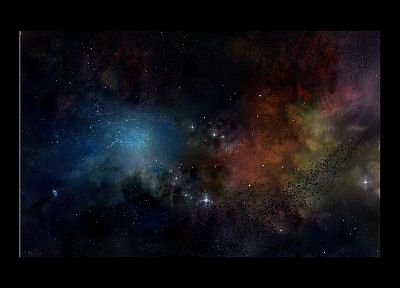 outer space, multicolor, stars, nebulae, cosmic dust - desktop wallpaper