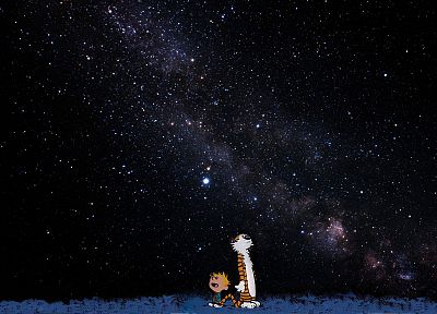 outer space, Calvin and Hobbes, artwork - random desktop wallpaper