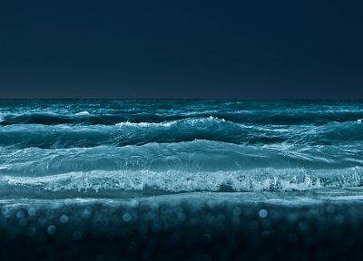 water, ocean, nature, night, waves, monochrome - desktop wallpaper