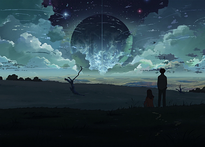 clouds, night, planets, Makoto Shinkai, couple, The Place Promised in Our Early Days - desktop wallpaper