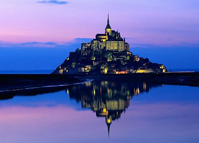 water, landscapes, France, Mont Saint-Michel - random desktop wallpaper