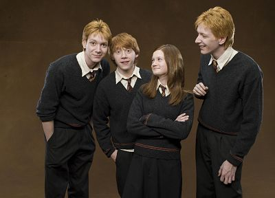 movies, Harry Potter, Bonnie Wright, Rupert Grint, Ginny Weasley, Ron Weasley, Fred Weasley, George Weasley, Oliver Phelps, James Phelps - related desktop wallpaper