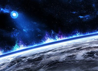 outer space, multicolor, stars, planets, cosmic dust - desktop wallpaper